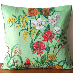 Vintage Retro Flowers Linen Cushion Cover.