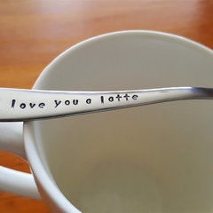 I Love You A Latte, Tea Pun, Coffee Pun,Hand Stamped,Coffee Gift, Carpe diem