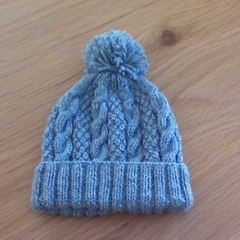 Cabled Light Grey Beanie made to fit 3 months.