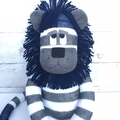 'Lenny' the Sock Lion - navy blue, grey & white - *MADE TO ORDER*