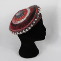 Hat handmade red/grey crocheted wool/acrylic beret style