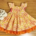'Isobel' - size 1 orange, yellow, pink and white renaissance style fabric