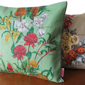 Vintage Retro Flowers Linen Cushion Cover.