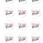 12 x Team Bride  60mm Round Glossy Stickers