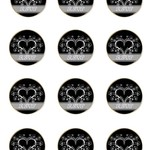 12 x Black and White RSVP 60mm Round Glossy Stickers