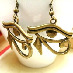 Bronze Eye of Horus Earrings, Egyptian Earrings