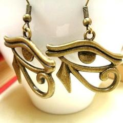 Bronze Eye of Horus Earrings, Egyptian Earrings