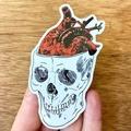 Thinking With Your Heart, Metallic Vinyl Anatomical Skull & Heart Art Sticker