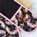 Australian Native Flower Oven Mitts Black and Pink - Double Oven Glove