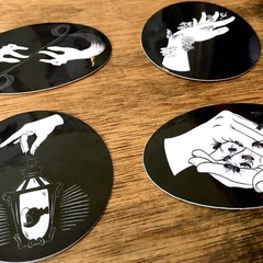 4 Mini Witch Hands Vinyl Art Stickers, Occult Sticker Pack Set of 4