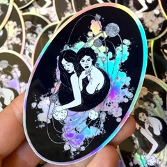 """""""The Lovers"""" Large Holographic Celestial Galaxy Sticker"""