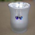 Swarovski Crystal Heliotrope Heart Sterling Silver Earrings