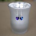 Swarovski Crystal Heliotrope Heart Sterling Silver Earrings