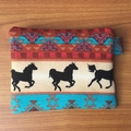 Tribal Horses Coin Purse - Turquoise