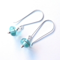 Antique aqua glass dangle earrings by Sasha and Max