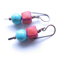 Cube turquoise blue and pink dangle earrings