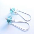 Antique aqua glass dangle earrings by Sasha and Max