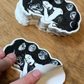 Moon Goddess, Die-Cut Vinyl Art Sticker of Moon Phases & Wolf