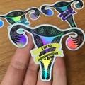 Endometriosis Awareness Sticker, Endo Ribbon & Holographic Uterus