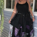 Black & Dusty Purple Bohemian Gypsy Skirt - OOAK Size 14 - 18 - Plus Size Skirt