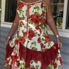 Red Roses Jersey Summer Dress  - Plus Size 18 - 20