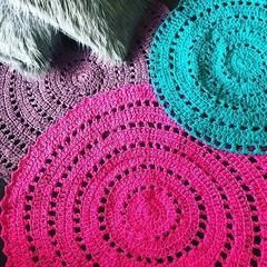 Large Bright Pink Crochet floor rug
