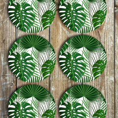 Monstera & Palms Neoprene Coasters - Set Of 6