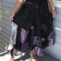 Black & Dusty Purple Bohemian Gypsy Skirt - OOAK Size 14 - 18 - Plus Size Skirt