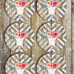 Floral Bull Horns & Chevron Coasters