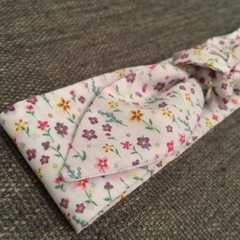 White and floral adult size cotton tie-up headband with elastic back