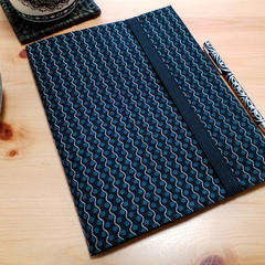A5 Black and White Notebook Cover with Elastic Strap Closure