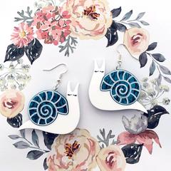 Snail Earrings - Acrylic Drop Earrings - 3 colours