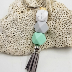 Small tassel keyring in mint green, grey, marble silicone beads with grey tassel