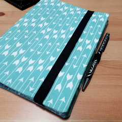 Aqua Arrows Notebook Cover with Pen Loop and Elastic Closure