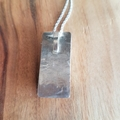 Blue goldstone rectangle textured sterling silver pendant for necklace