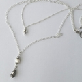 Long & layered sterling silver & pearl boho necklace