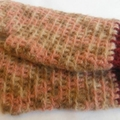 Crocheted fingerless mitts. wool mohair and acrylic yarns, size M ON SALE!!!