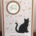 Cat Happy Birthday Handmade Card - FREE POST