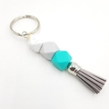 Small tassel keyring in turquoise, grey, marble silicone beads with grey tassel