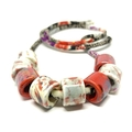 Speckled Egg Ceramic Beads on Kimono Cord - Red and Black