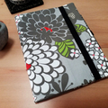 Journal Cover with Pen Loop and Elastic Closure, Satchi Grey Floral A5 Notebook