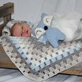 blue grey and white retro granny crochet blanket