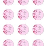 12 x Pink Save the Date 60mm Round Glossy Stickers