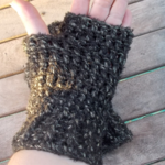 Crocheted fingerless mitts. wool and acrylic, black and white. ON SALE