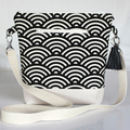 Black and cream satchel bag- Japanese fan print