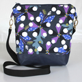 Navy blue and purple modern satchel bag