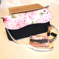 Clutch bag, nappy wallet- pink floral linen with navy denim