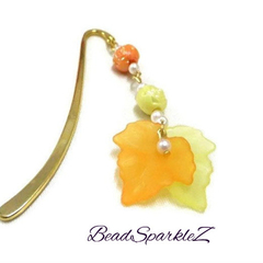 Yellow and Orange Autumn Leaf Bookmark with Rose Beads, Beaded Bookmark