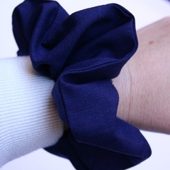 Navy blue scrunchie - thick cotton in size Large