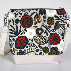 Satchel bag in Japanese cotton linen fabric